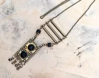 Vintage Brass Necklace, Brass Pendant, Antiqued Brass , Boho Necklace