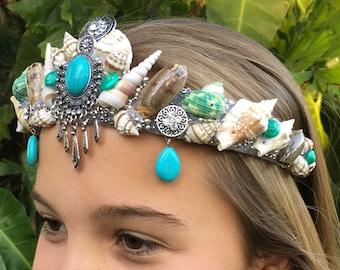 Turqoise Bindi Shell Crown