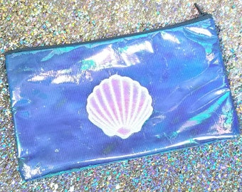Shimmering Shell Pencil Pouch - Small Cosmetic Zipper Bag - Pencil Case - Purse Organizer - Makeup Bag - Small Toiletry Bags - Reusable