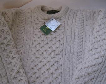 Irish Sweater - Aran Design - Fisherman Sweater - Made in Ireland - Size Large