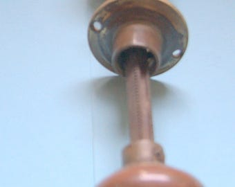 Late Georgian/early Victorian brass knobs for use with rimlock