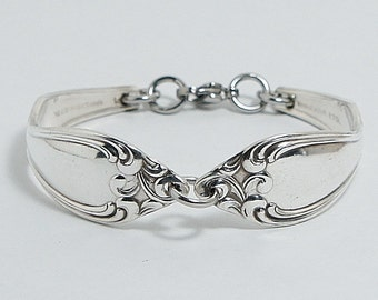 """Spoon Bracelet Flatware Jewelry Authentic Silverware Bracelet Retro Gift For The Vintage Lover! """"Old South"""" Year 1949"""