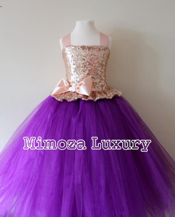 Rose Gold & Purple Flower Girl Dress, rose gold bridesmaid dress, flower girl gown, bespoke girls dress, tulle princess dress, rose gold