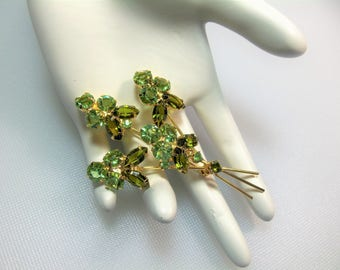 Vintage Gold Tone Olivine and Light Green Open Backed Rhinestones Floral Flower Spray Pin Brooch
