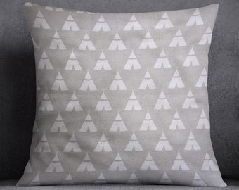 Grey TeePee Pillow Cover, Nursery Decor Pillow, Throw Pillow, Room Decor, Gray and White Pillow Cover, Accent Pillow, Decorative Pillow