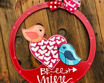 Inventory SALE Valentine's Day love birds Door Hanger handpainted hand lettered