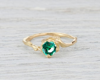 Emerald Nature Inspired Engagement Ring - Emerald Twig Ring Delicate Engagement Ring in Yellow Gold, White Gold, Rose Gold or Platinum