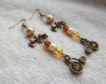 Long Drop Penny Farthing Steampunk Earrings, Vintage Look, Penny Farthing Charm, Steampunk Flower, Steampunk Jewelry