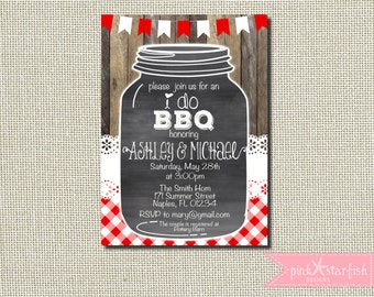 BBQ Invitation, Bridal Shower Invitation, I do bbq, Couples Wedding Shower, bbq Shower, Mason Jar Invitation, Jack and Jill Shower, Digital