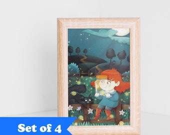 Postcards set of 4 illustration, little Jade and the fireflies