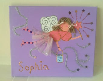 Personalised fairy art canvas picture - sparkle and glitter!