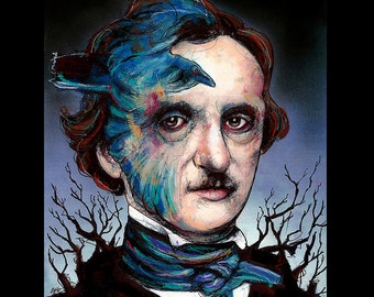 "Print 11x14"" - Edgar Allan Poe - Poetry Author The Raven Nevermore Murders in the Rue Morgue Dark Art Horror Gothic Mustache Victorian"