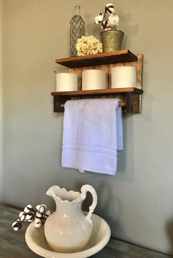 Bathroom shelf, Bathroom towel holder, Rustic towel Rack, Towel Bar, Towel rod, Bathroom storage shelf, Wall Shelf Rustic, Wood Shelf Rustic