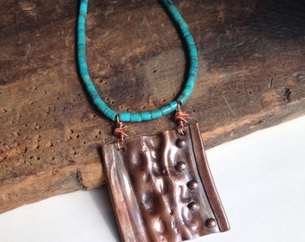 REDUCED Copper Air Chased Pendant, Metalwork Necklace, Turquoise Heishi Beads, Southwest, Hammered Metal, Etsy, Etsy Jewelry