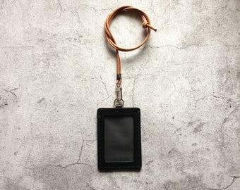 Black Leather ID Holder Badge Holder ID Case