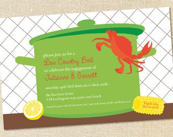 Sweet Wishes Crawfish Crab Boil Picnic Invitations - PRINTED - Digital File Also Available