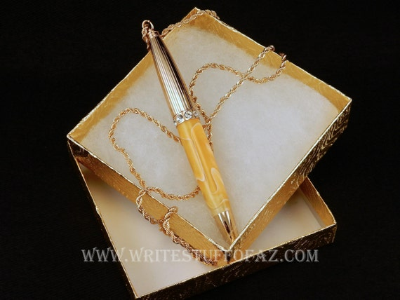 Mother's Day Pen Necklace in Butterscotch Yellow
