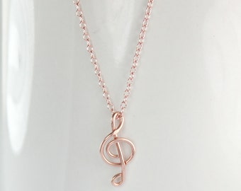Rose Gold Wire Treble Clef Necklace, Musical Symbol Jewelry, G Clef Pendant Necklace, Gift And Every Day Wear Minimalist Necklace