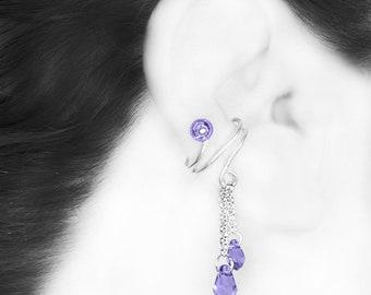 Purple Swarovski Crystal Ear Cuff, No PIercing Needed, Tanzanite Swarovski Crystal, Cartilage Earring, Wedding Jewelry, Oort Cloud III v14
