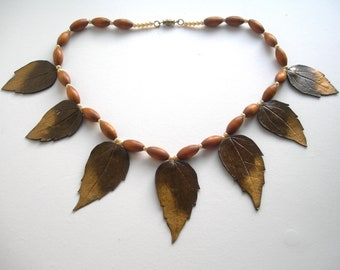 Autumn leaves necklace, wooden beads, leather,pearls, ART designed, hand made, vintage