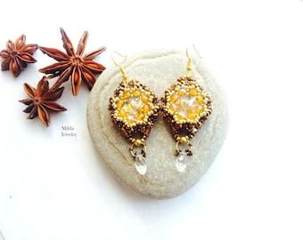Beaded earrings, rivoli chandelier earrings in czech glass beads, dangle drop handmade beadwoven earrings, beadwork jewelry, beadweaving