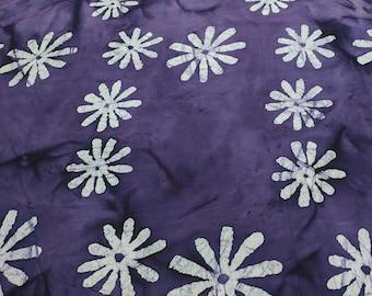 White Flowers on Purple Batik Cotton Fabric