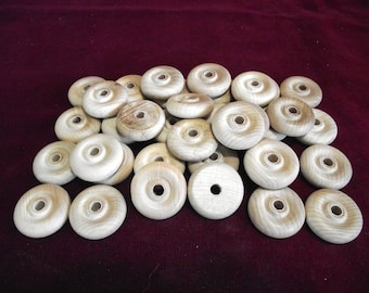36  Wheels  1-1/4 inch diameter with 1/4 hole  Unfinished Hardwood