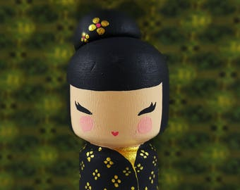 kkeshi peg Doll Wooden doll japanese flowers traditional japan art