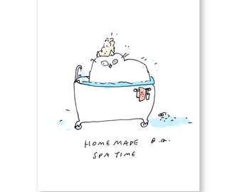 Spa Time Cat Print