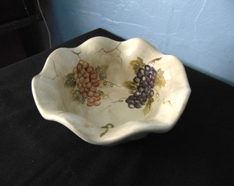 Cabernet Serving/Candy Bowl Hand Painted