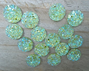 Set of 12mm yellow green resin buttons