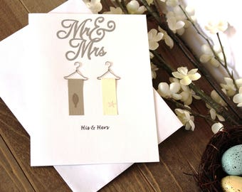 Handmade Wedding or Anniversary Card, His and Hers, Towels, Mr and Mrs, Leaf Star, White Beige Brown, Blank Inside, Free US Shipping