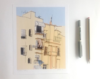 "Naples Hand Drawn Illustration Coloured Digitally 8x10"" Print"