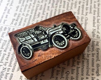 Vintage Copper Printing Block Letterpress Newspaper Print Plate Block Car Stamp