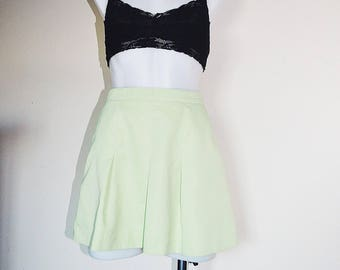 Light Green Vintage Pleated High Waisted Skirt