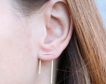 Sterling Silver Bar Ear Jacket |Spike Earrings |Minimal | Edgy |Sterling Silver | Gold Plated | Rose Gold Plated | Mix and Match| Line Studs