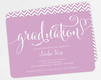 Graduation Invitation, Graduation Announcement, Printable Invitation, Invitation PDF, DIY, Printed, Gold, Purple, Chevron, Heart, Lorelai