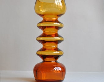 Scandinavian Style Amber Hooped Glass Vase - Friedrich Kristall - Made in Germany
