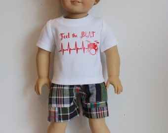 18 inch boy doll clothes made to fit dolls such as American girl boy doll, shorts and t shirt