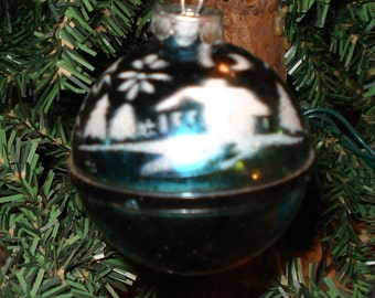 Vintage Christmas Ornament, Season's Greetings, Mid Century Holiday Decor, Plastic, Stenciled, Blue  (740-10)