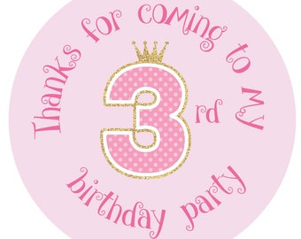 Thanks For Coming To My 3rd Birthday Party - Pink polka dot and faux glitter effect - 30mm stickers