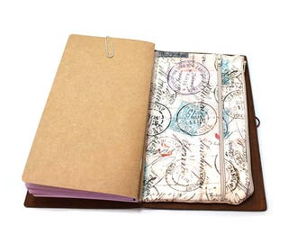 Zippered Insert for Midori Travelers Notebook, Standard Size, Personal Size, Passport Size, Micro Size - Travel Stamps with Blue Accents