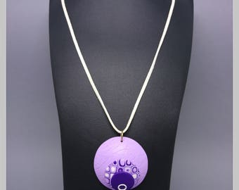 Domed round pendant, purple, purple and white