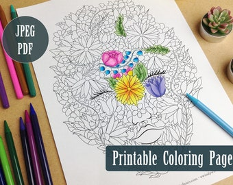 Lady Nature Printable Coloring Page PDF, Flowers and Leaves Nature Illustration to Color, Digital Download Coloring Pages by Windy Iris