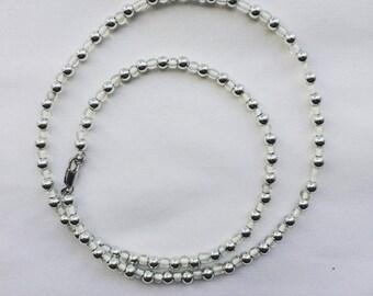 Necklace Silver Light White Minimalism Jewelry
