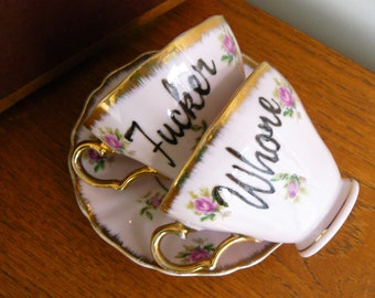 Whore F*cker  hand painted vintage china tea set x 2 recycled humor pink sweary tea party MATURE