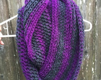 Chunky soft wool blend hand crocheted cowl