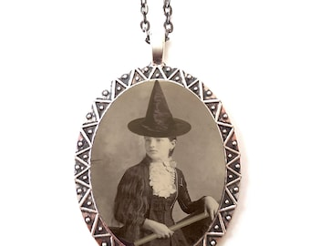 Victorian Witch Necklace Pendant Silver Tone - Vintage Halloween Altered Art Photo Witchcraft