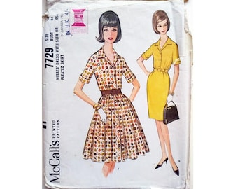 """Part UNCUT McCall's 7729 Vintage 60's Shirt Dress with Pencil or Full Skirt Sewing Pattern Size Bust 34"""" UK 12"""