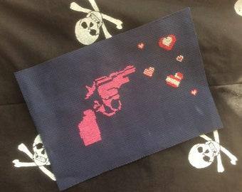 Cutesy Gun of Candy: cross stitch patch polka striped' prettyness